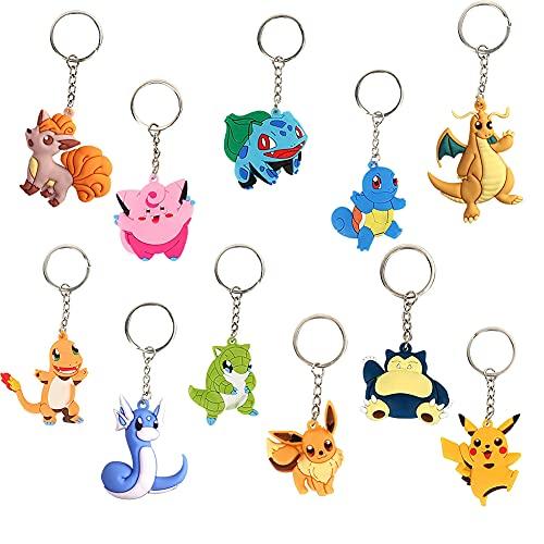 11 Pièces Porte clé, Pikachu Porte-clés, Porte-clés pour enfants Cadeau, Motif recto-verso, Pvc Cartoon Pocket Monsters Porte clé