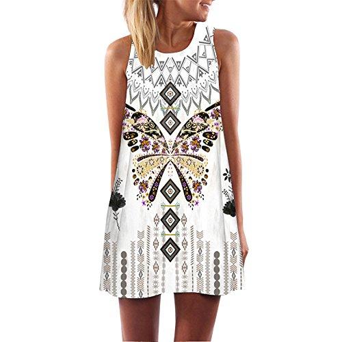 MOMOXI Vestidos para mujer Mini vestido corto corto de moda de la vendimia de la impresión de la playa del verano de las de Boho Fiesta Verano de Noche Estampado de Geometría Halter Playa Falda