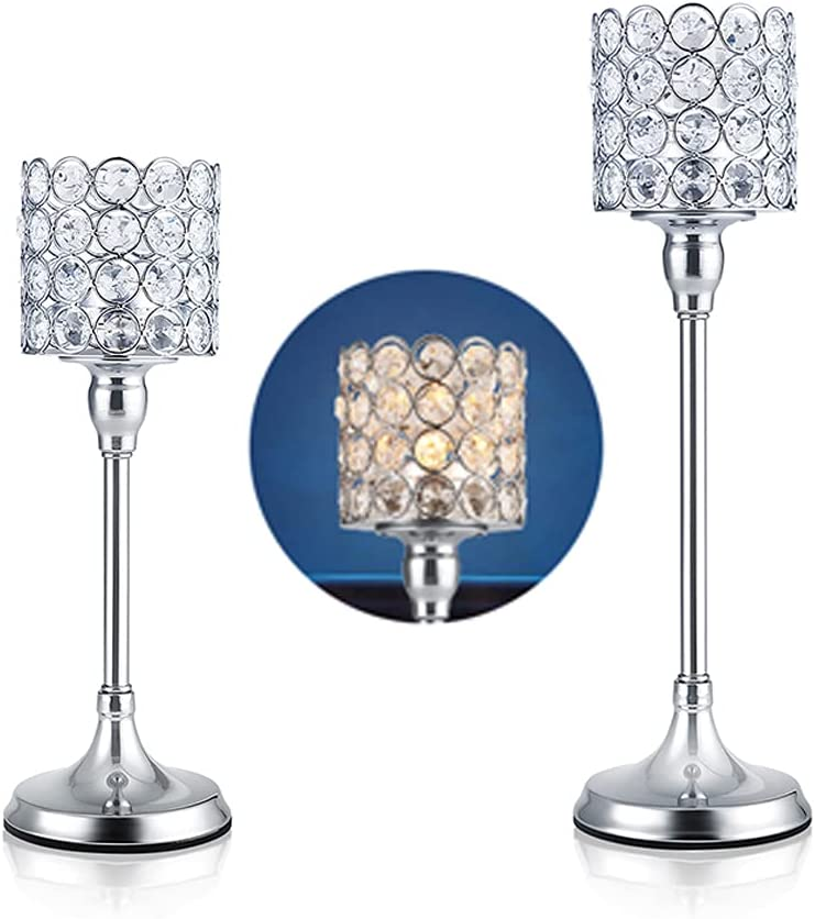 DUOBEIER 2Pcs Crystal Candle Holdrs Table Candelabra Pillar Candlestick Holders Wedding Decorative Centerpieces Dining Room Home Decor 11.6 and 13.5 Inches Tall(Silver)