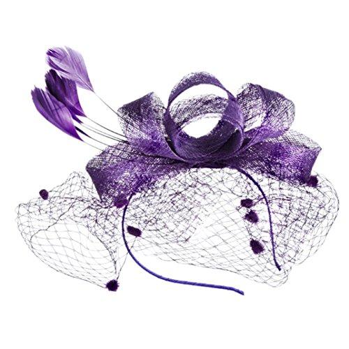 Chapeaux Melon,Covermason Mini Chapeau Clip Gothique Femme Chapeau Dentelle Cheveux Clip Chapellerie Rubans et Plumes Chapeau de Fête de Mariage (Violet)