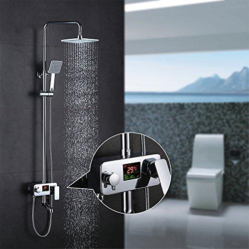 Homelody 3-weg douchesysteem LCD temperatuurweergave douchearmatuur met regendouche handdouche douchekop douche armatuur en badkuip doucheset voor bad