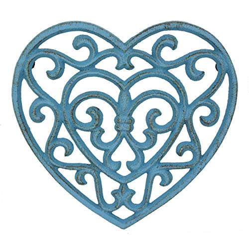 Stonebriar Conservatory Rustic Turquoise Heart Shaped Cast Iron Trivet, Country Blue