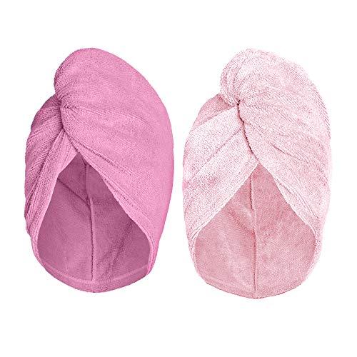 Turbie Twist Super Absorbent Microfiber Hair Towel - Hands Free Hair Drying Towel - 2 Pack (Light Pink, Dark Pink)