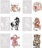 Ausuky 6X Tiger/Leone/Gatto/Drago/Cavallo Animale Totem Ritaglio Avatar Template Stampo Pittura a Spruzzo Pittura a Mano & Sponge Painting Cards