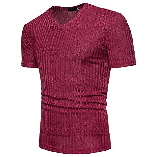 OSYARD Mode Männer Bluse,Kurzarm Tops Fit Pullover V-Ausschnitt Casual Herren T-Shirt, Sommer Modernes Sweatshirt Basic Vintage Slim Fit