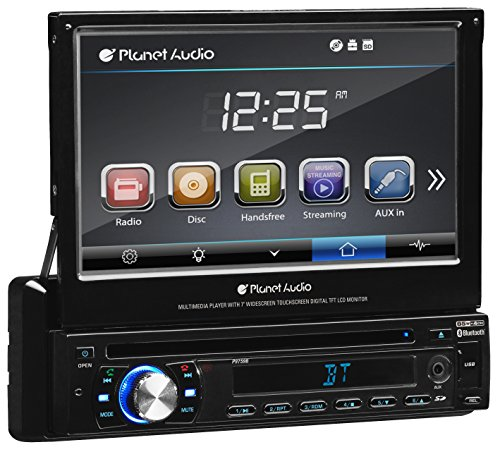 Planet Audio P9759B Single Din, Touchscreen, Bluetooth, DVD CD MP3 USB SD AM FM Car Stereo, 7 Inch Digital LCD Monitor, Detachable Front Panel, Wireless Remote