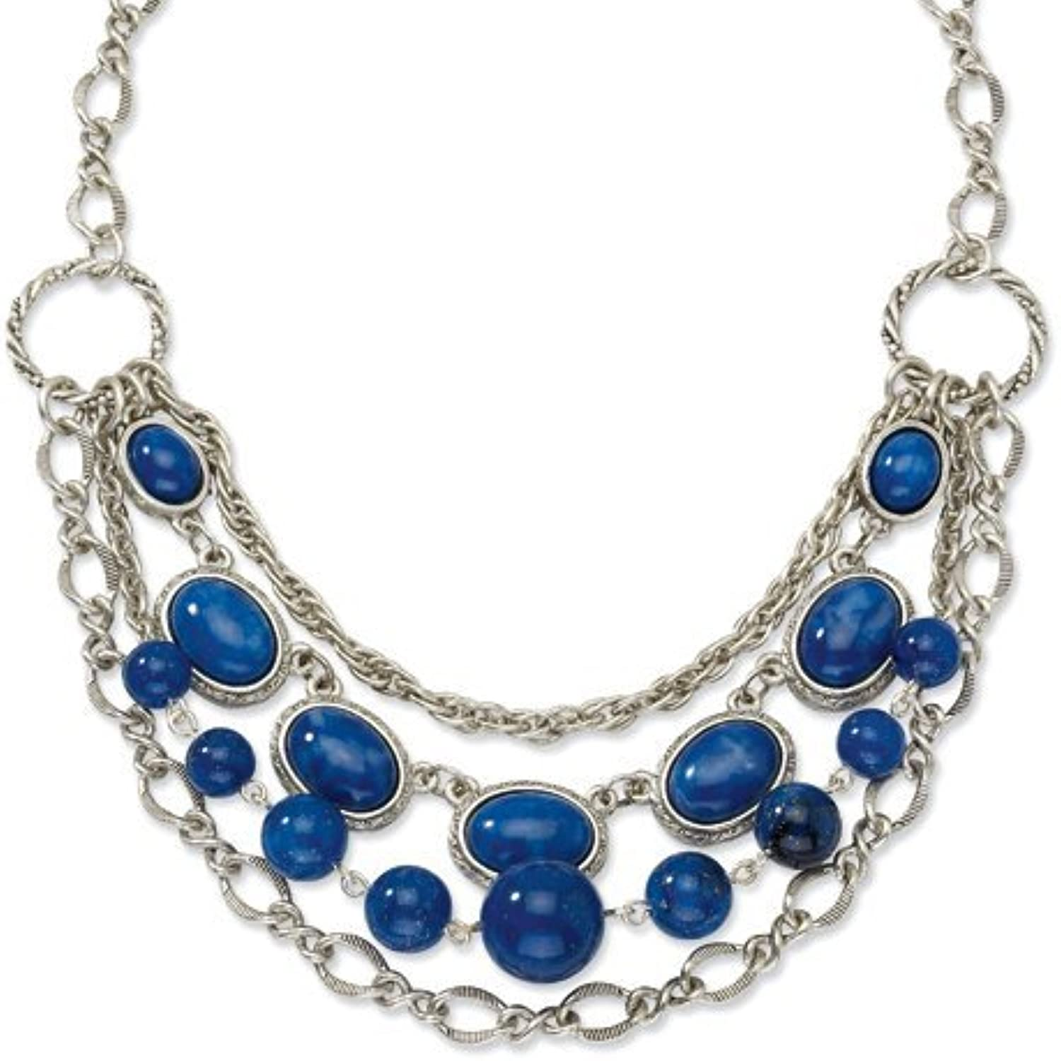 1928 Silgreenone bluee Glass Beads 16in w ext Necklace