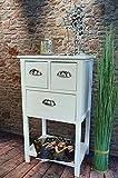 Livitat Kommode Telefontisch Anrichte mit 3 Schubladen Landhaus Vintage Weiß 70 cm Höhe LV1026