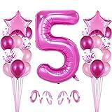 Bluelves 5er Cumpleaños Globos, Decoración de cumpleaños 5 en Rosas, Feliz cumpleaños Decoración Globos 5 Años, Globos Numeros para Fiestas,Globos de Aluminio para Niñas