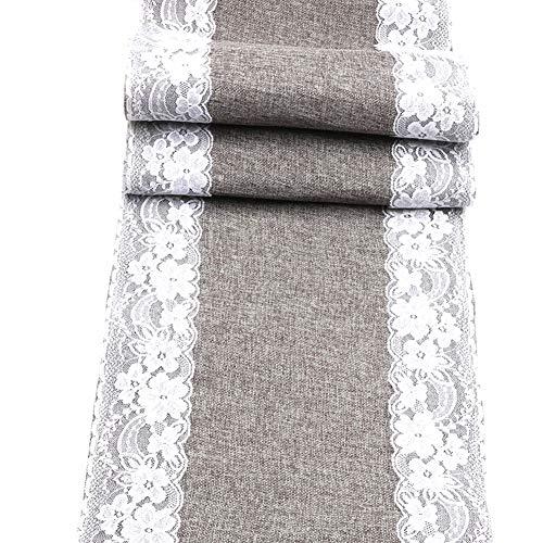 Fablcrew - Camino de mesa de tela de yute con encaje, 30 x 275 cm, para bodas, cumpleaños, bautizos, fiestas, decoración de mesa, color gris