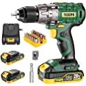 Teccpo 20V 1/2 Inch Brushless Cordless Drill Set with Case (Green)