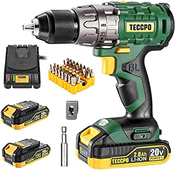 Teccpo 20V 1/2 Inch Brushless Cordless Drill Set with Case