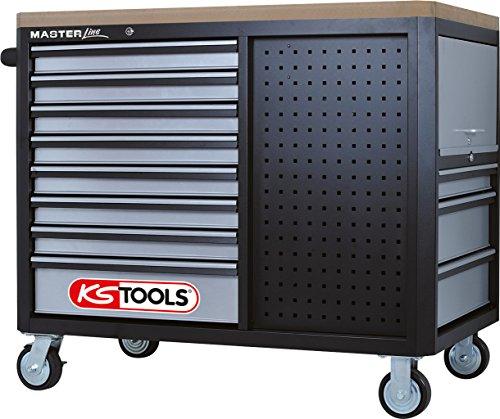 KS Tools 878.0012 MASTERline Werkstattwagen mit 11 Schubladen + 2 Regalböden schwarz/silber