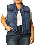 uxcell Women's Plus Size Single Breasted Denim Vest with Two Flap Chest Pockets Blue 2X