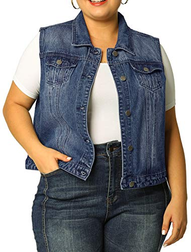 uxcell Women's Plus Size Single Breasted Denim Vest with Two Flap Chest Pockets Blue 3X