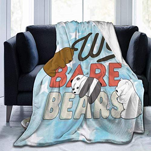 Manta de franela de forro polar con diseño de osos de Bare Bears para sofá, cama, salón, sala de estar, suave, cálida, antibolas, viajes, para hombres y mujeres, 150 x 100 cm