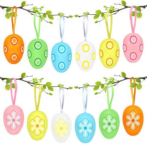 Bluelves 12X Uova di Pasqua, Colorate Decorazioni Pasquali, Uova Finte Pasqua, Uova di Pasqua da...