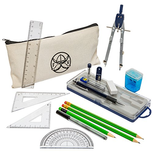 Protractor and Compass Set with Ruler, Set Square, Protractor, Compass for Geometry, Pencils, Pencil Case, Mechanical Pencil, Pencil Sharpener, Eraser and Lead