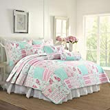 Cozy Line Home Fashions Pink Floral Blue Reversible Quilt Bedding Set, Coverlet Bedspread (Pink Garden, King - 3 Piece)