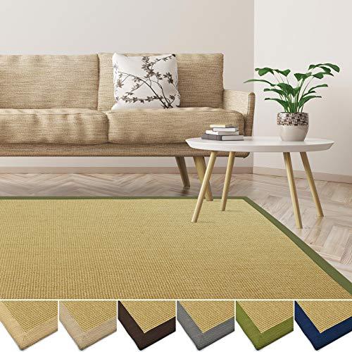 casa pura Tapis en sisal écologique   antidérapant, résistant   idéal Salon, Chambre, Cuisine   Nature avec Bordure Vert - 40x60cm