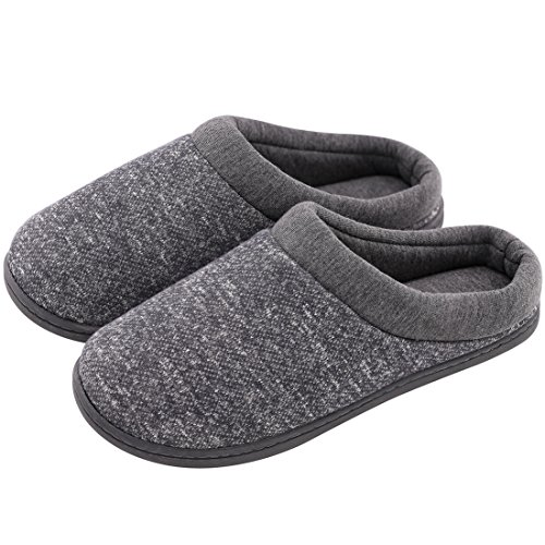 Women's Comfort Slip On Memory Foam French Terry Lining Indoor Clog House Slippers (Large / 9-10 B(M) US, Light Gray)