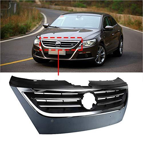 QQKLP Matte Black Auto-Grill Chrome Frontstoßstange Honig Mesh-Grill Trim Kühlergrills Fit für Passat CC 2009 2010 2011 2012,Schwarz