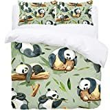 TIZORAX Single Bedding Duvet Cover Set - Watercolor Panda In Stone Stakes Eating Bamboo 3 Piece Microfiber Comforter Set Quilt Cover and 2 Pillow Shams for Men Women