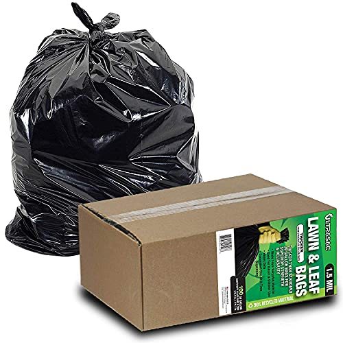 """Ultrasac 39 Gallon Garbage Bags (HUGE 100 Pack) 33"""" x 43"""" Heavy Duty Industrial Yard Waste Bag - Professional Outdoor Trash Bags for Contractors and more (Pack of 100) (769646)"""