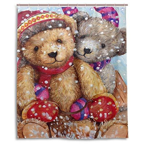 60Wx72H Zoll Winter Schnee Teddybär Puppe Duschvorhang Polyester Wasserdicht Fuzzy Bear Ski Schneemann Schneeflocken Bad Duschvorhang Set mit Haken