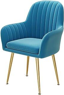 Wyujie Cocina sillas de Comedor manchadas, Comer Silla de la Cocina Silla tapizada Silla de diseño con apoyabrazos, Azul