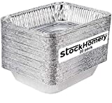 9 X 13 Half Size Disposable Aluminium Foil Baking Pans by StockHomery – Heavy-Duty Foil Pans – Be it Lunch Box or Food Leftover Storage or Frying pan (20 count) (with out lids)