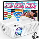 4K 5G WiFi Projector, 8500Lumens Full HD Native 1080P Projector LCD Projector for Outdoor Movies, Wireless Mirroring/4K/Smartphone/TV Stick/HDMI/USB Supported [120' Projector Screen Included]