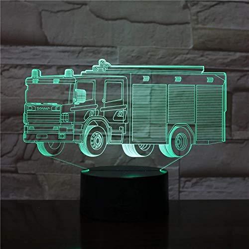 Camión de bomberos luz de noche 3D interfaz USB lámpara de noche iluminación LED animación ventilador regalo regalo de vacaciones