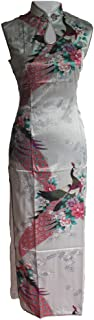 فستان صيني طويل من 7Fairy Women's Silk White Keyhole Peacock