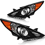 LSAILON Headlight Assembly Driver and Passenger Side Replacement For Hyundai Sonata 2011-2014 Black Housing Amber Reflector Clear Lens