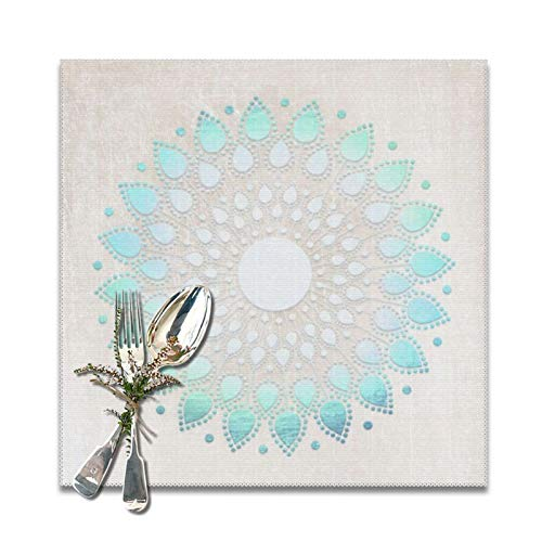 Elegantes manteles individuales cuadrados de poliéster con diseño floral de loto blanco y turquesa, suaves y lavables, para cocina, comedor, decoración del hogar, juego de 6