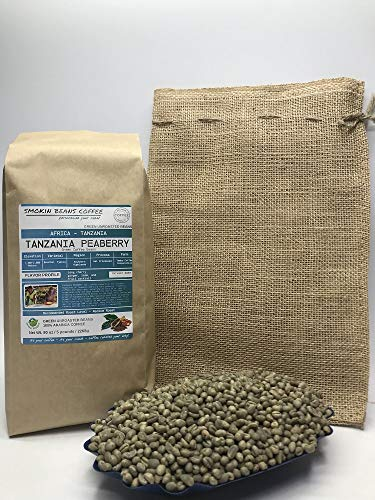 5 Pounds – Southern Africa – Tanzania Peaberry – Unroasted Arabica Green Coffee Beans – Grown in Southern Highlands – Altitude 1400-2000 M – Drying/Milling Process Wet Processed – Includes Burlap Bag