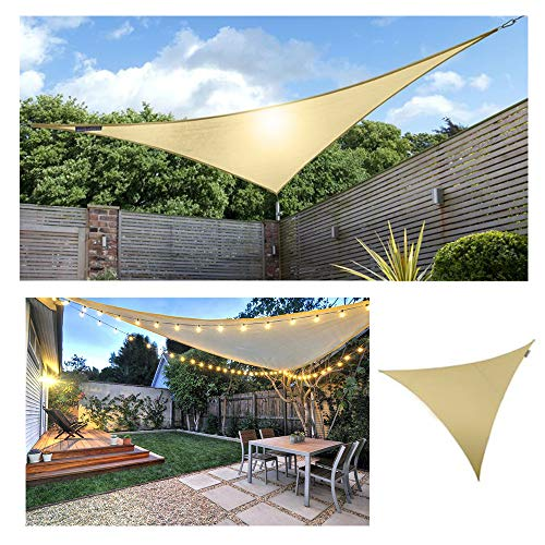 HOXMOMA Sonnensegel Dreieck Sonnenschutz mit LED-Leuchten, Wasserdicht Atmungsaktiv UV-Schutz Sun Segel mit 2 Befestigungsseile, Mode für Balkon Garten Terrasse Camping,Beige,4x4x4m