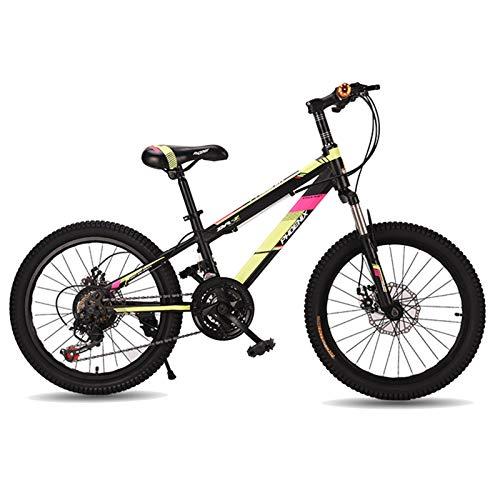 Axdwfd Infantiles Bicicletas Bicicleta de montaña, Bicicleta de 20 Pulgadas de 21 velocidades Suspensión Completa  Engranajes Dual Disc Frenos Bicicleta de montaña (Color : Yellow)