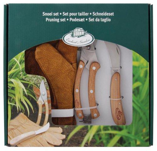 esschert Design Set de Coupe Jardinage 3 pièces avec Gants en Cuir, Couteau de Jardinage et sécateur