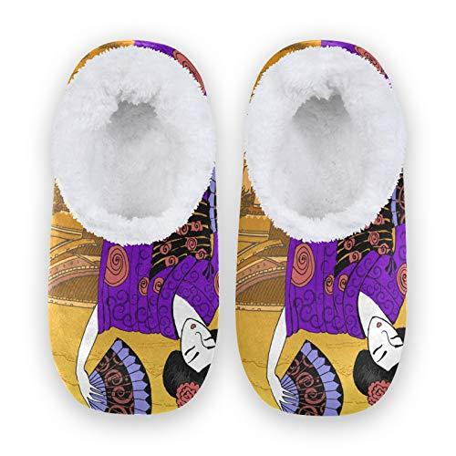 TropicalLife JNlover - Pantuflas de forro polar para mujer, japonés, vintage, para mujer, mujer, hombre, con parte trasera cerrada, para casa, para interiores y exteriores, color, talla X-Large
