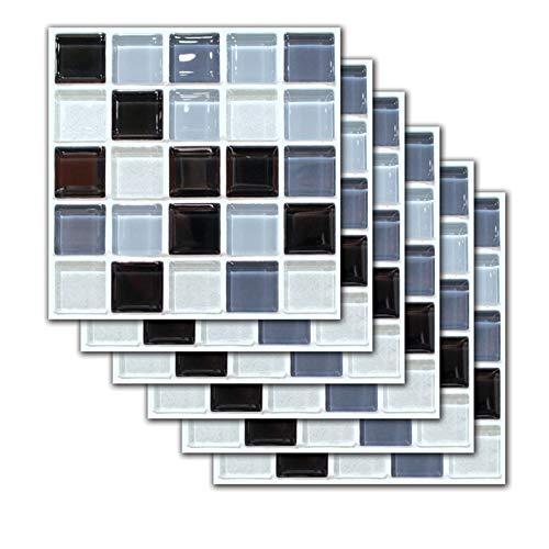ZYLE 6/12 Piezas de imitación 3D de azulejo de cerámica Pegatinas de Pared de imitación mármol Impermeable Autoadhesivo Pegatinas de Pared baño de Cocina de Cocina (Size : 6pieces)