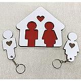 Llaveros para Parejas | Organizador de Llaves para pareja | Cuadro de madera con 2 llaveros | Guarda llaves para Hogar | Regalo original ideal de San Valentín para Parejas | Regalo para él y ella