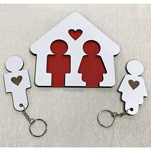 DON DETALLE Colgador de Llaves para Pareja Hogar | Cuadro de madera con 2 llaveros para casa | Regalo Original ideal de San Valentín para Pareja