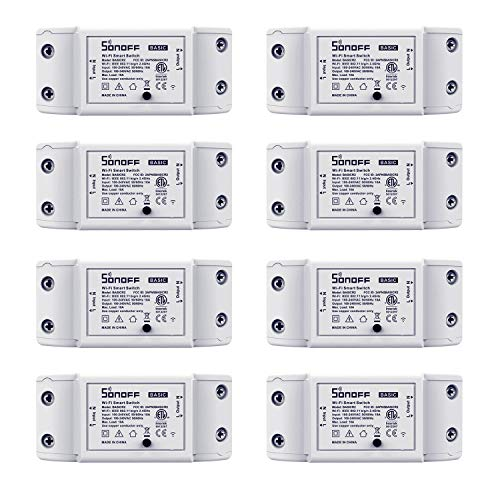 Sonoff WiFi Switch 8-Pack Alexa Switches Wireless Remote Control Electrical for Household Appliances,Compatible with Amazon Alexa and Google Home,DIY Smart Home Devices on Your Phone