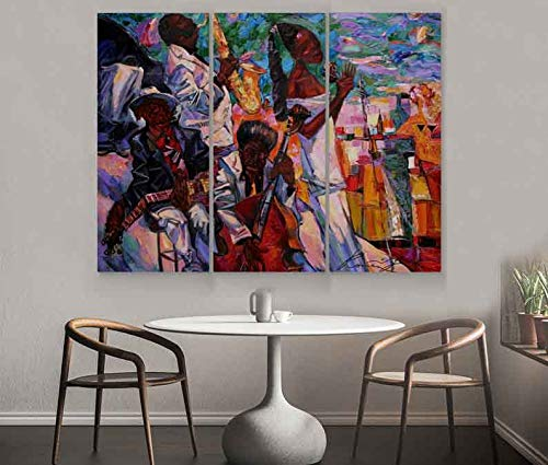 Meteor Gallery Afro Classic Jazz, Abstract Dancing African People Canvas, Black People Colorful Artwork, African Abstract Oil Painting Decoration Canvas 3 Panels : 83x55 inches (210x140cm)