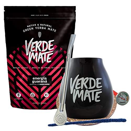 Verde Mate Tee Set | Verde Mate Energia Guarana 500g + Ceramic Verde Mate black Gourd + Bombilla + Cleaner + pad + termometr | Yerba Mate Set …