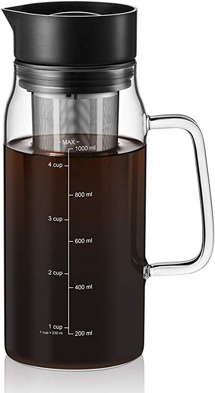 Cold Brew Iced Coffee Maker 34oz Brewing Glass Carafe With Removable Stainless Steel Filter