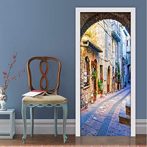 Mural de Pegatinas de Puerta, Papel Tapiz de Puerta, Vista de la Calle de la Ciudad Italiana, Pegatina de Puerta 3D, Papel de Pared fotográfico, Mural, Impermeable, Autoadhesivo