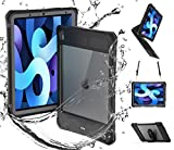 iPad Air 4th / 4 Generation Case Waterproof with Pencil Holder Screen Protector Stand Kickstand and Strap, Full Body Rugged Protection Bumper Protective Case for iPad Air 4 10.9' 2020 (Black)